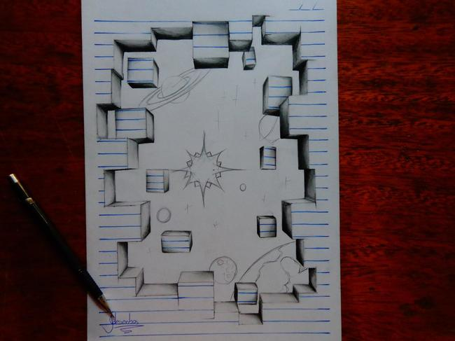 Awesome 3D Notebook Drawings Created by a 15 Year Old Kid