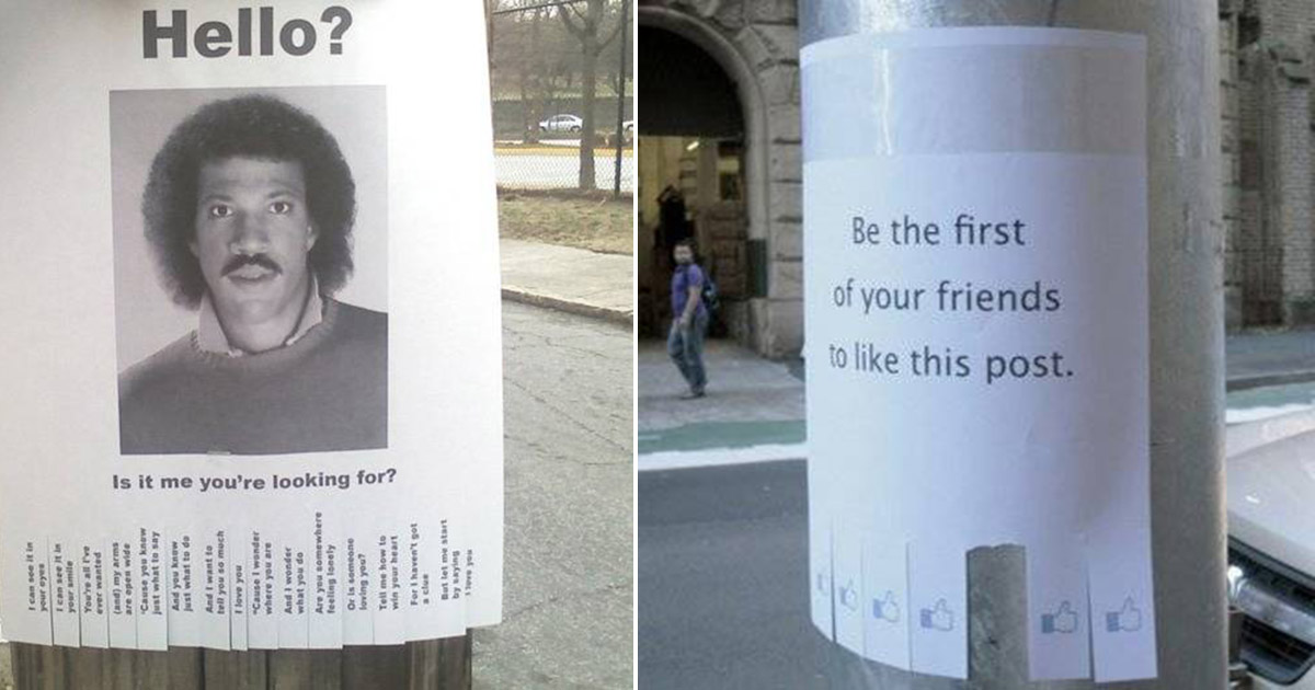 Hilarious Street Posters That Will Make Your Day. I Can't loo..