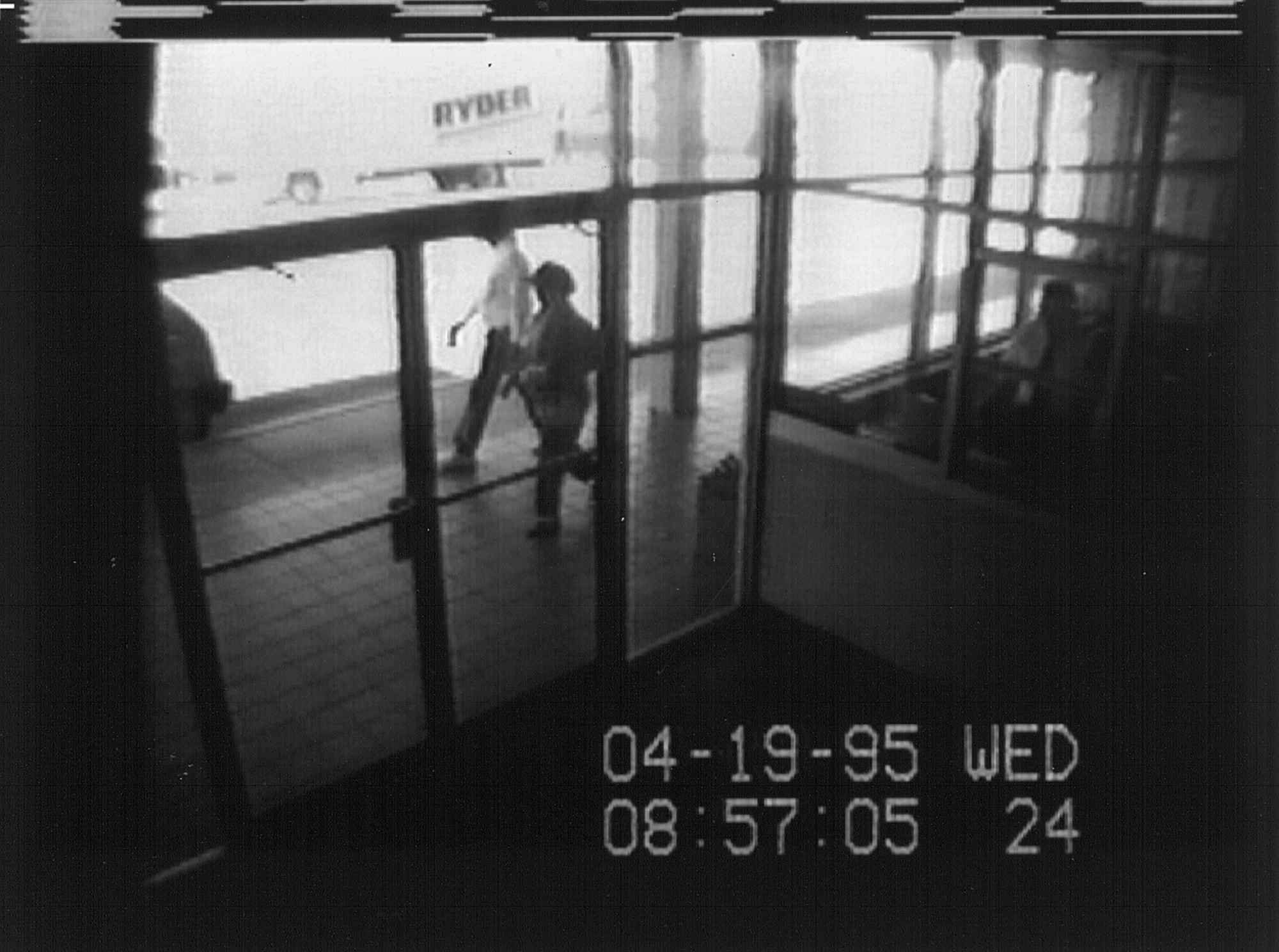 15. Surveillance footage of American terrorist Timothy McVeigh stopping in his rental truck to light the fuse. The attack killed 168 people.