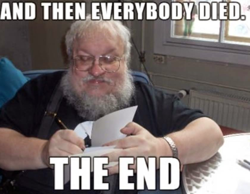 5. 5. George R. R. Martin revealed the end of the show to the producers in case he dies