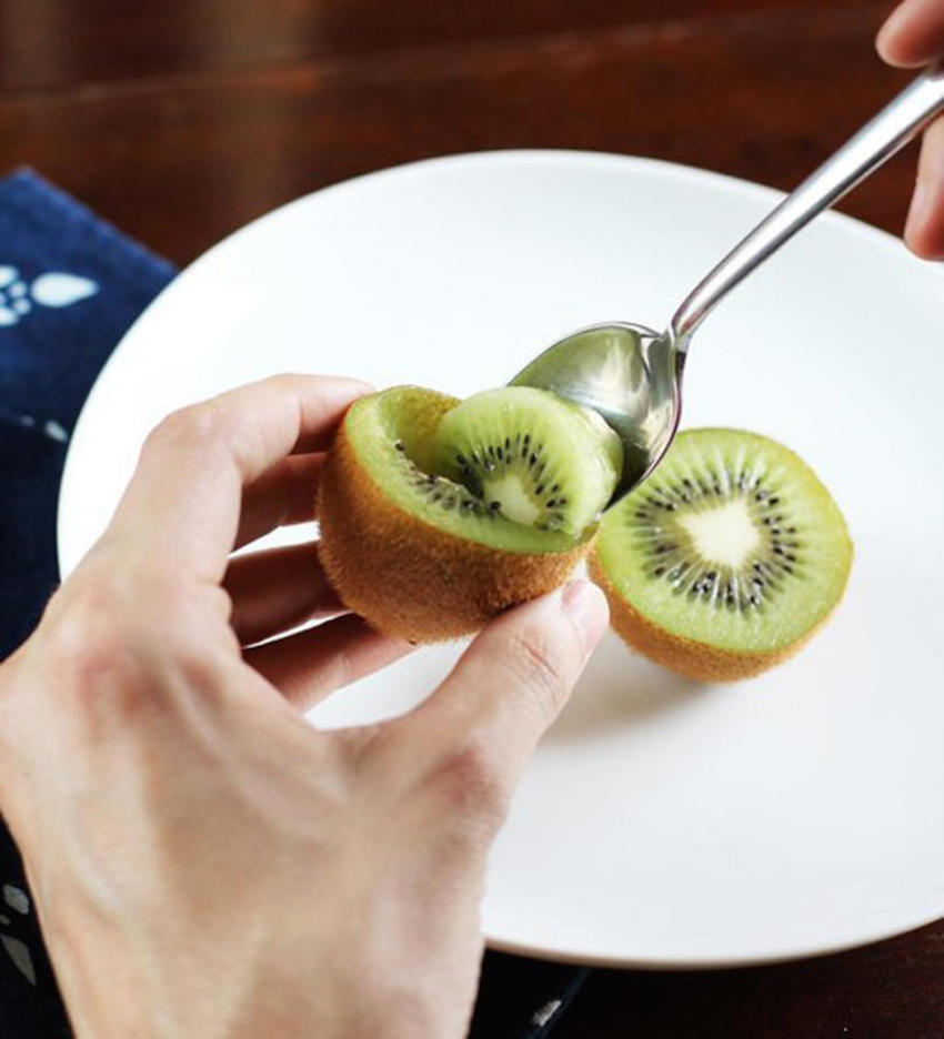 17. Cut kiwis in half for a built-in bowl