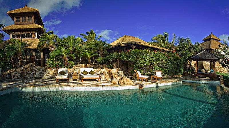 Necker Island Resort's Palm-Covered Pool