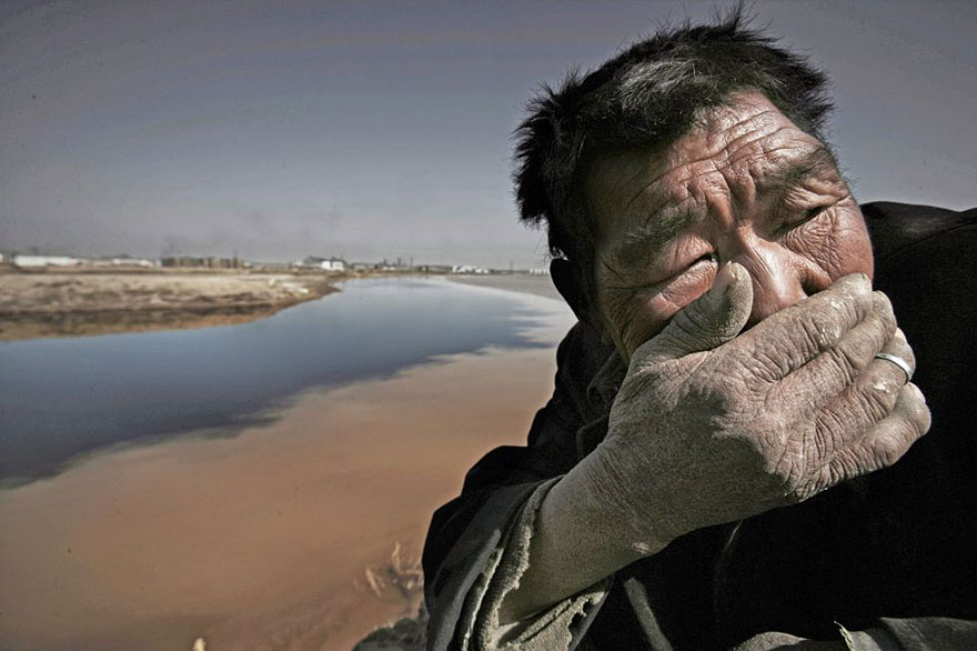 15. The polluted Yellow river in Mongolia